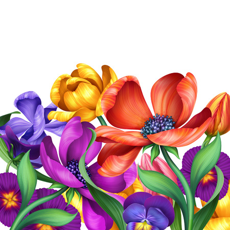 abstract mixed colorful flowers, illustration on white background illustration