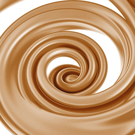 toffee: 3d abstract liquid caramel swirl, spiral splash isolated on white