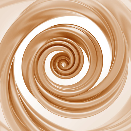 caramel candy: 3d abstract liquid caramel swirl, spiral cream splash isolated on white Stock Photo