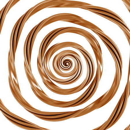 caramel sauce: 3d abstract liquid caramel swirl, spiral glaze splash isolated on white Stock Photo