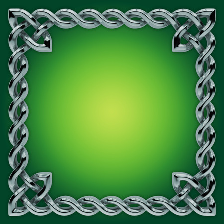 3d silver Celtic frame with twisted border, design element photo