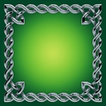 celts: 3d silver Celtic frame with twisted border, design element