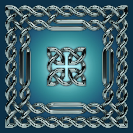 3d silver Celtic twisted design elements set photo