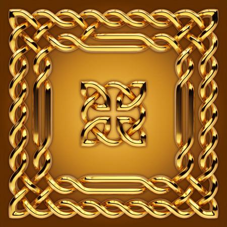 celts: 3d golden Celtic twisted design elements set