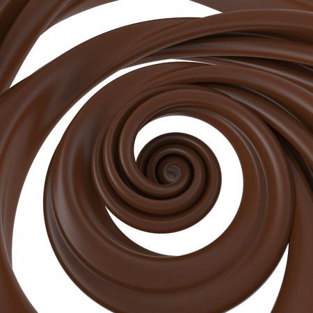 3d abstract liquid chocolate swirl, spiral dough splash isolated on white