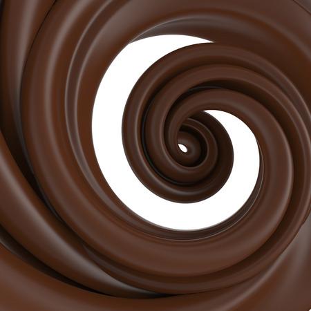 3d abstract liquid chocolate swirl, spiral dough splash isolated on white photo
