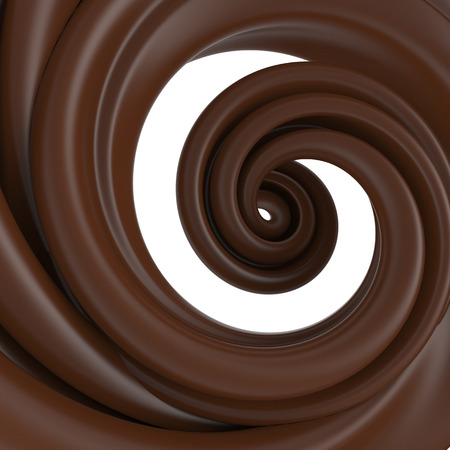 chocolate splash: 3d abstract liquid chocolate swirl, spiral dough splash isolated on white
