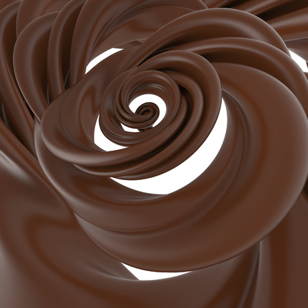 chocolate swirl: 3d abstract liquid chocolate swirl, spiral dough splash isolated on white