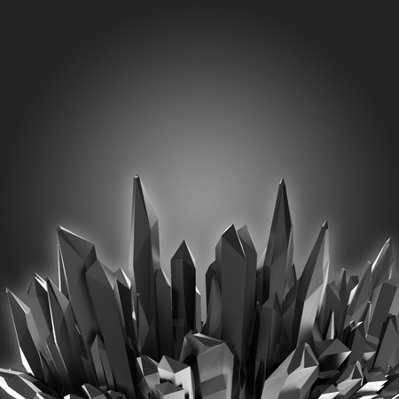 3d black crystal shapes, abstract background Stock Photo