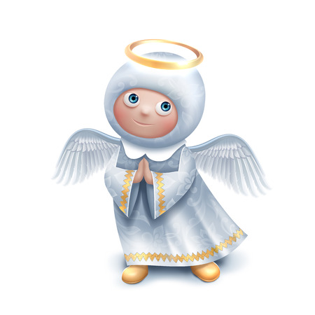 angel 3d: cute praying angel character isolated on white background, Easter or Christmas holiday greeting card