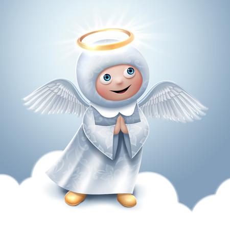 praying angel clip-art, Christmas greeting card Stock Photo - 31603598