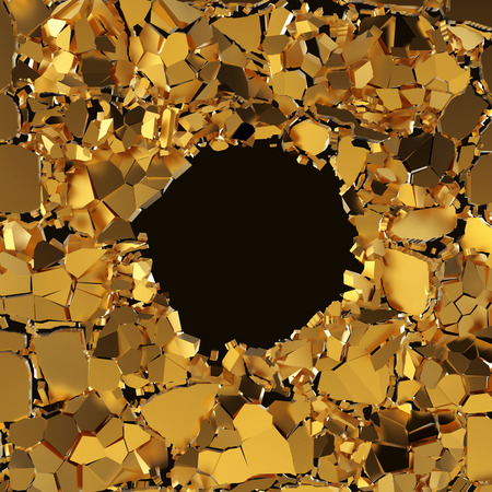 black hole: 3d abstract broken pieces, gold cracked background with round hole Stock Photo