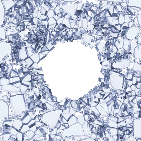3d abstract broken glass pieces, white cracked clear background with round hole Stock Photo