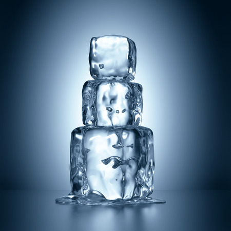 melting ice: 3d ice cubes tower melting, abstract illustration