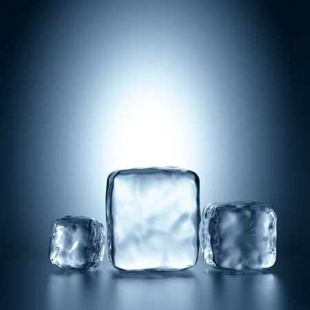 refrigerate: 3d assorted ice cubes, abstract illustration