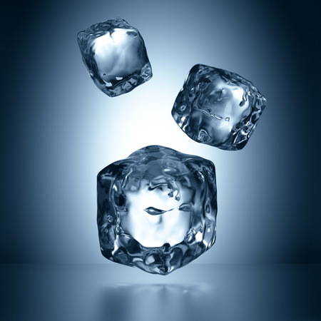 chilled: 3d assorted ice cubes falling, abstract illustration