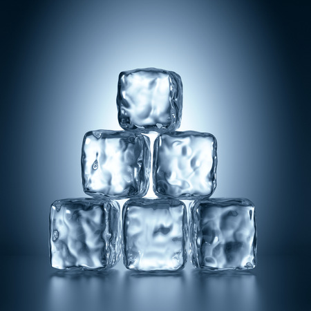 ice: 3d ice cubes pyramid, abstract illustration