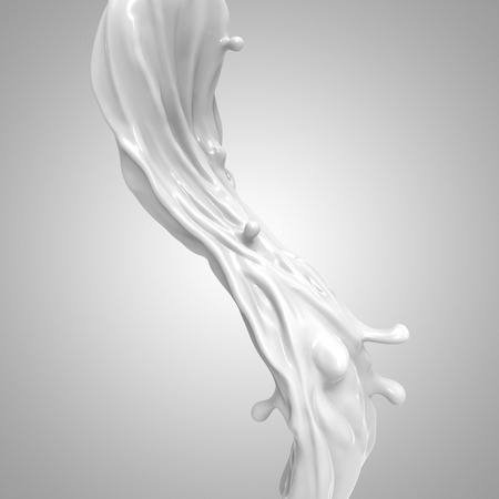 liquido: 3d abstracto líquido chapoteo de la leche blanca aislada sobre fondo claro Foto de archivo