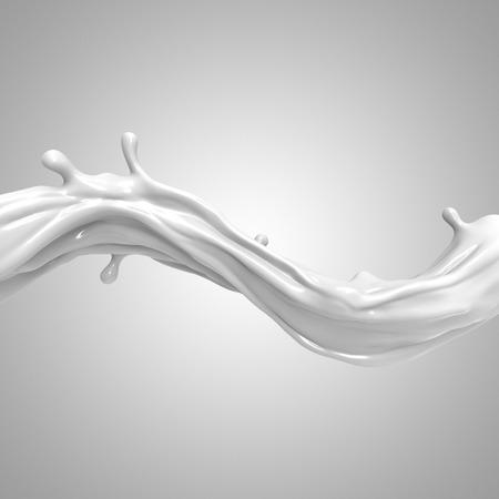 jet stream: 3d abstracto líquido salpicaduras de leche blanca aislada sobre fondo claro Foto de archivo