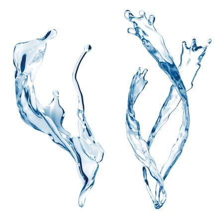 jet stream: aislado conjunto salpicaduras fuente de agua, elementos de la onda salpicaduras de líquidos