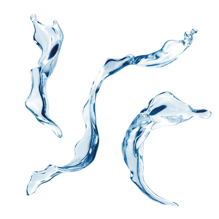 water splashing set isolated on white background, liquid splash elements collection