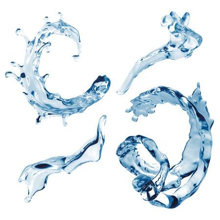frozen drink: water splashing set isolated on white background, liquid splash wave elements collection
