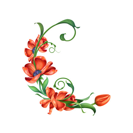 design element with abstract red blooming flowers, illustration illustration