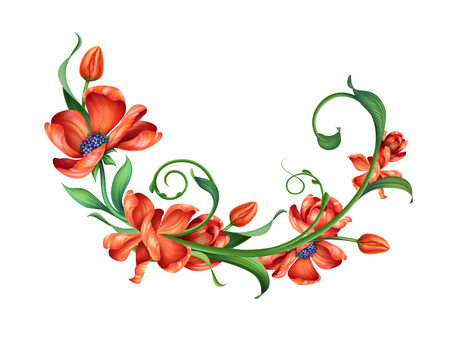 design element with abstract red blooming flowers, illustration, illustration