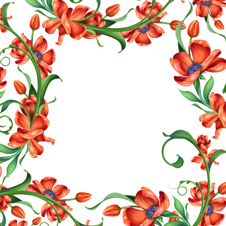 page border: abstract red floral frame, illustration on white background