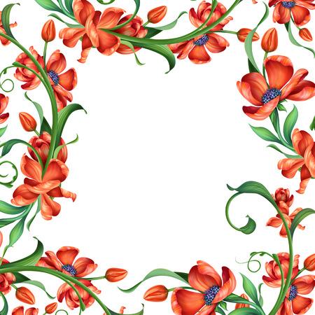 bordure de page: R�sum� du cadre floral rouge, illustration sur fond blanc