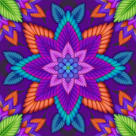 abstract floral kaleidoscope, geometric ethnic seamless pattern, intricate folk background