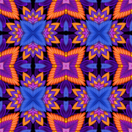 abstract floral kaleidoscope background, geometric ethnic seamless pattern photo