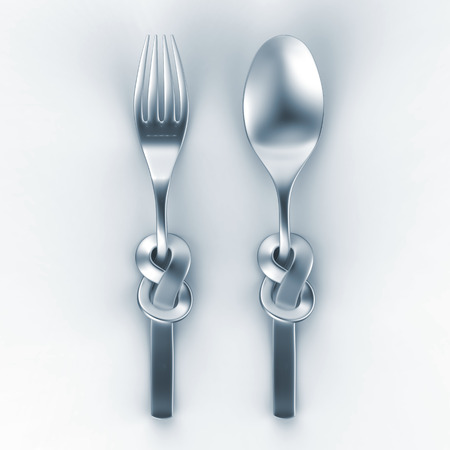 3d illustration of metallic spoon and fork, silverware with Celtic knot illustration
