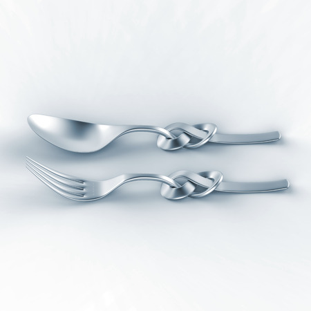 3d illustration of metallic spoon and fork, silverware with Celtic knot