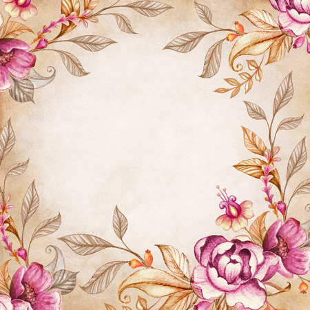 watercolor flowers and leaves frame on vintage paper background photo