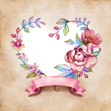 watercolor floral heart composition with ribbon tag on vintage paper background photo