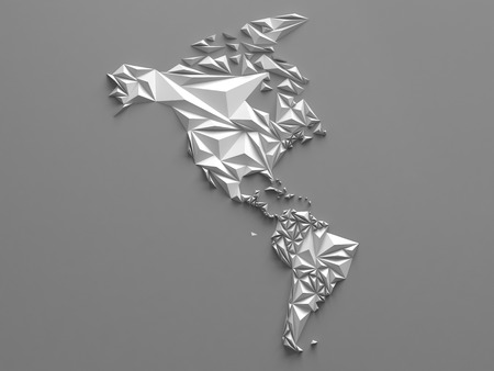 faceted: 3d abstract white faceted map, global geographic background, America continent