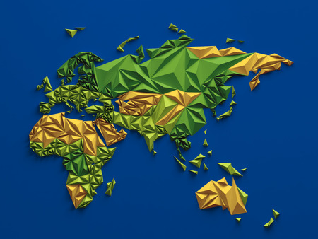 geographic: 3d abstract colorful faceted map, global geographic background, Eurasia Australia and Africa Stock Photo