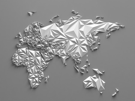 faceted: 3d abstract white paper faceted map, global geographic background, Eurasia Australia and Africa Stock Photo