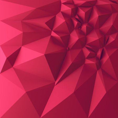 crystallization: 3d abstract geometric background, red polygon shapes