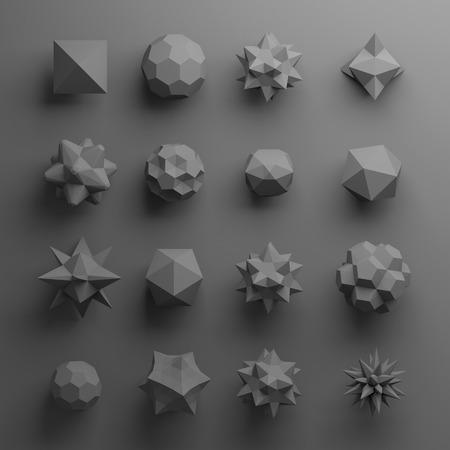 plato: 3d black abstract geometric polygonal shapes