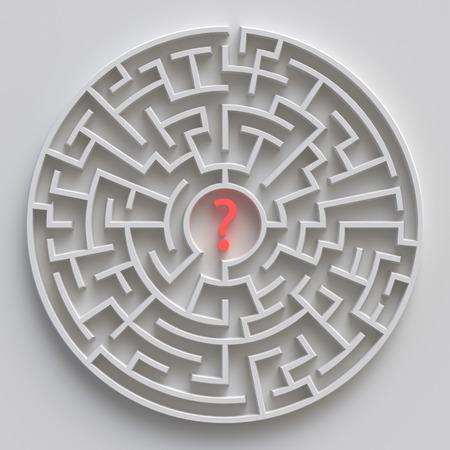 3d ronde doolhof, wit labyrintconcept, vraagteken Stockfoto