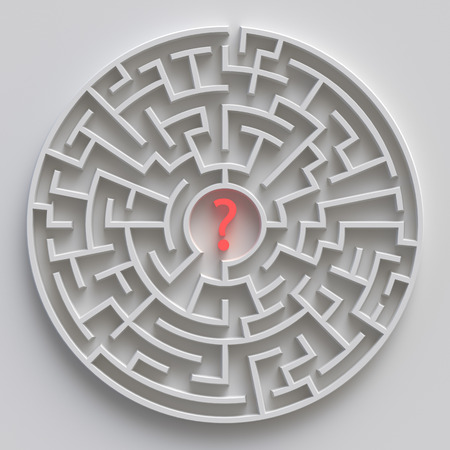 3d round maze, white labyrinth concept, question mark