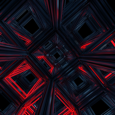 abstract 3d cube cell background, black and red photo