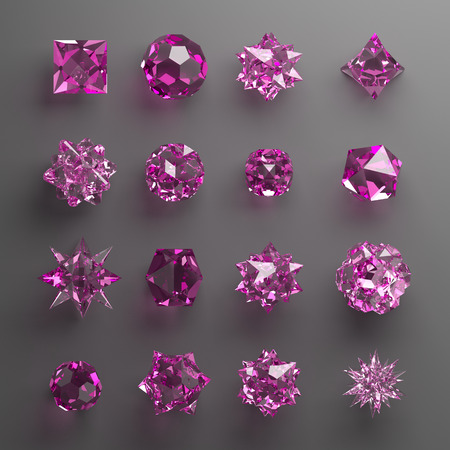 faceting: 3d abstract geometrical shapes, pink glass beads, crystals, gems and jewels