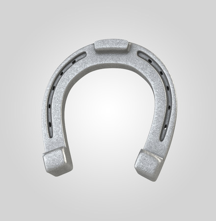 silver horseshoe, 3d metallic object isolated on white background photo
