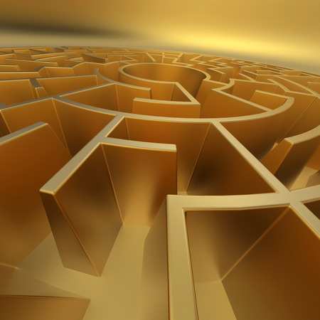 search solution: 3d abstract labyrinth, golden maze background