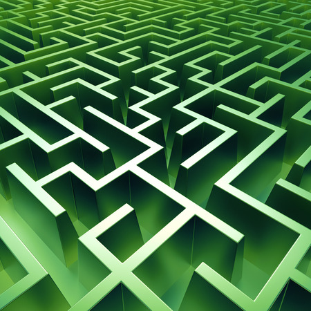 complexity: 3d green maze background, abstract labyrinth Stock Photo