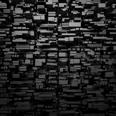 fragments: 3d abstract black geometric background with small fragments