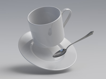 zero gravity: falling cup with spoon, 3d objects hanging in zero-gravity